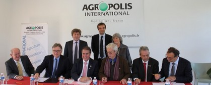 Signature of a partnership agreement between Agropolis International and brazilian partners - 24.03.2016 at Agropolis International, Montpellier (France)