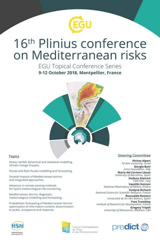 Appel à communications jusqu'au 20 avril 2018 pour la conférence '16th EGU-Plinius conference on Mediterranean risks',  09-12 octobre 2018, Montpellier