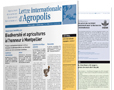 Lettre internationale Agropolis, édition bilingue, parution 3à 4 fois/an